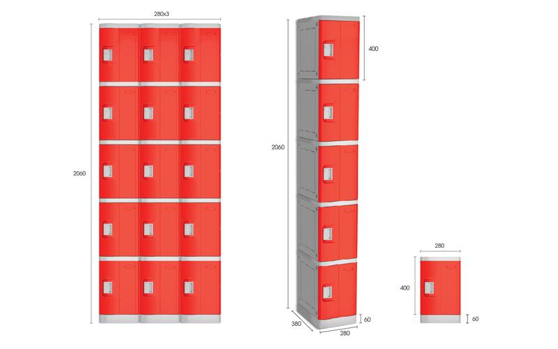 Kích thước tủ locker ABS dòng M400